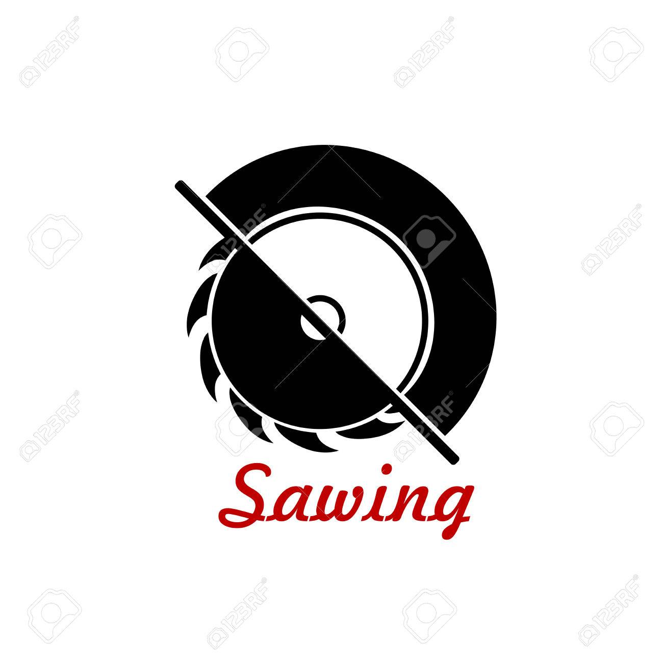 circular saw blade silhouette. bench saw tool black silhouette with sharp circular blade isolated on white background stock vector