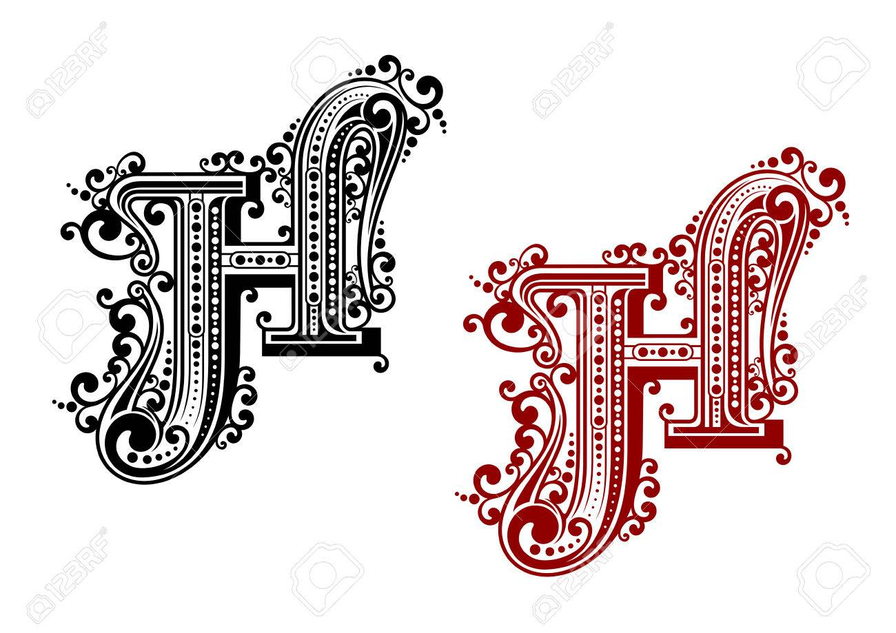 Black and red capital letter h in calligraphic floral style with black and red capital letter h in calligraphic floral style with decorative flourishes isolated on white altavistaventures Choice Image