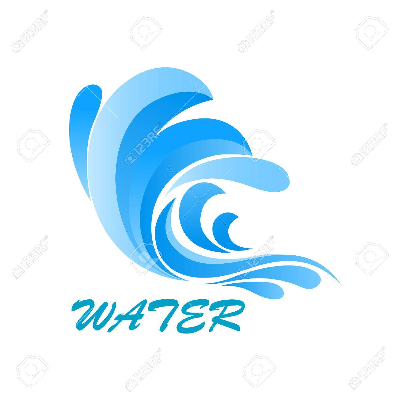 Sea Wave Symbol With Flowing And Curving Blue Water Isolated