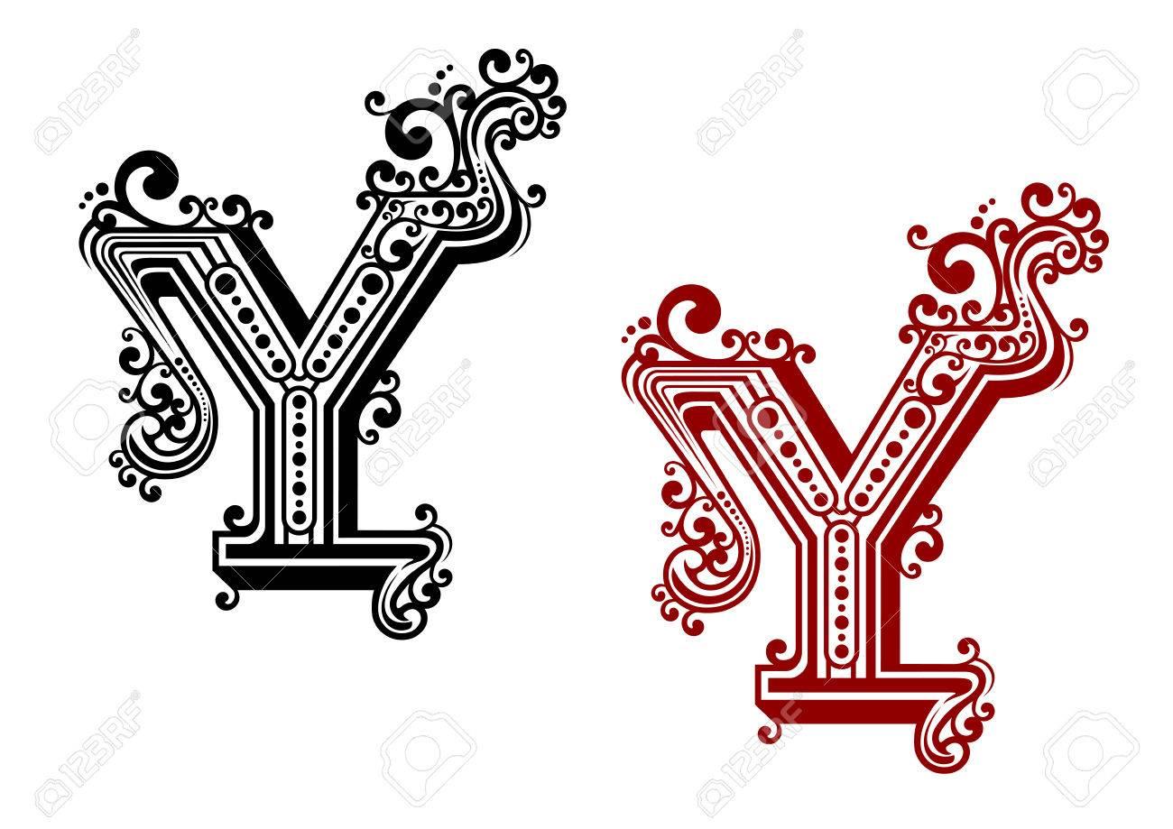 Retro hoofdletter Y in rode en zwarte kleuren met het vegen bochten,  draaien en stippen  Geïsoleerd op een witte achtergrond voor monogram of