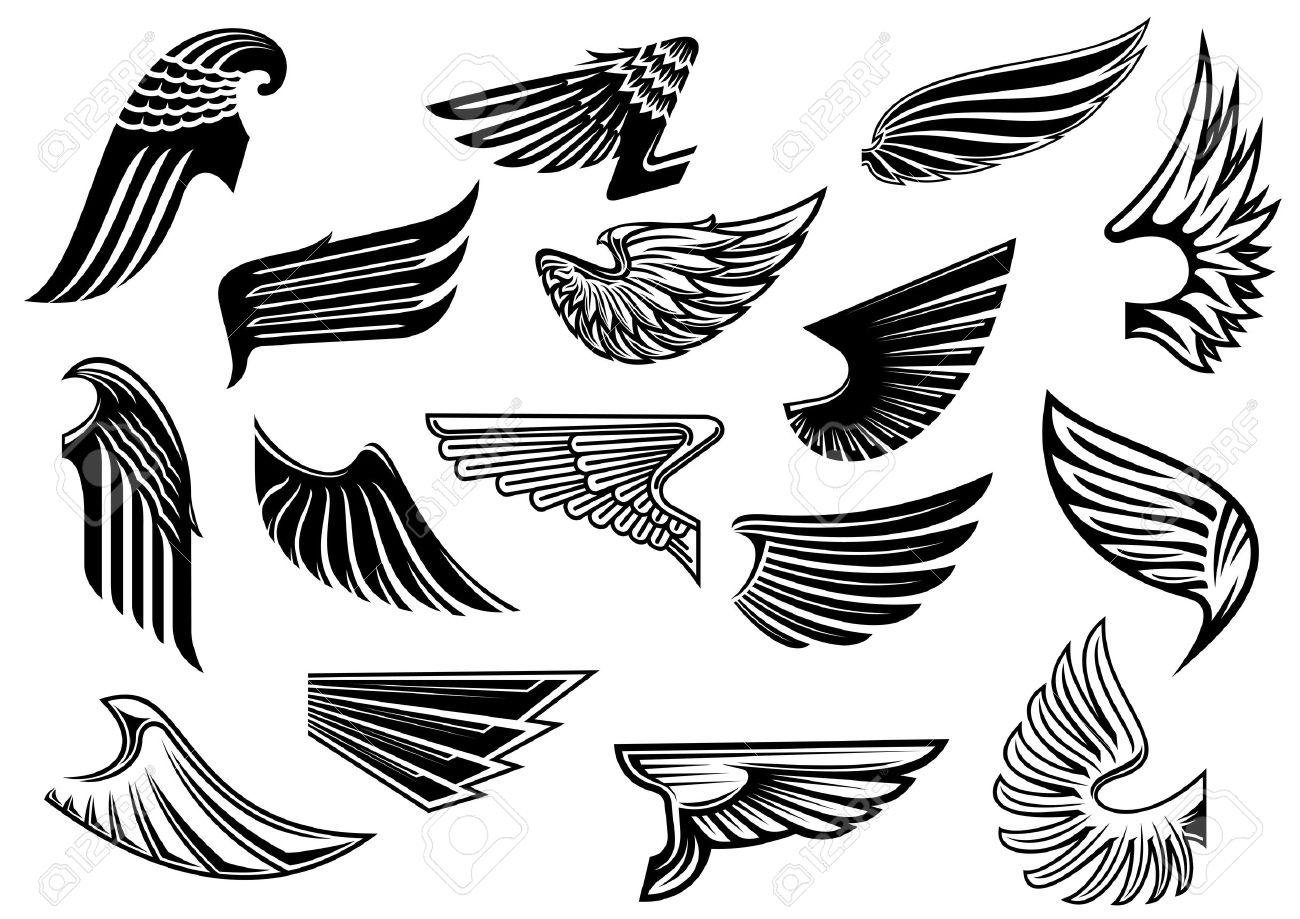 Vintage Geïsoleerde Heraldische Vleugels Set Met Gedetailleerde En