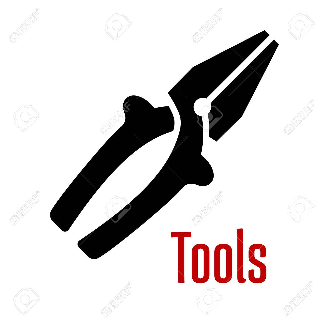 Pliers tool black silhouette with insulation grips and wire cutter
