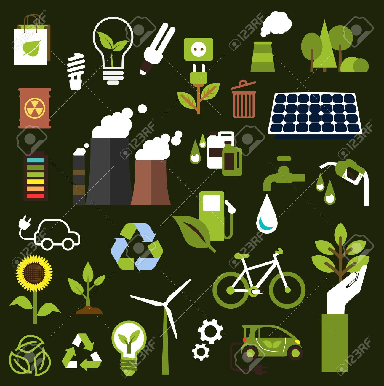 Ecology symbols with flat icons of industrial pollution transport ecology symbols with flat icons of industrial pollution transport saving natural resources green buycottarizona