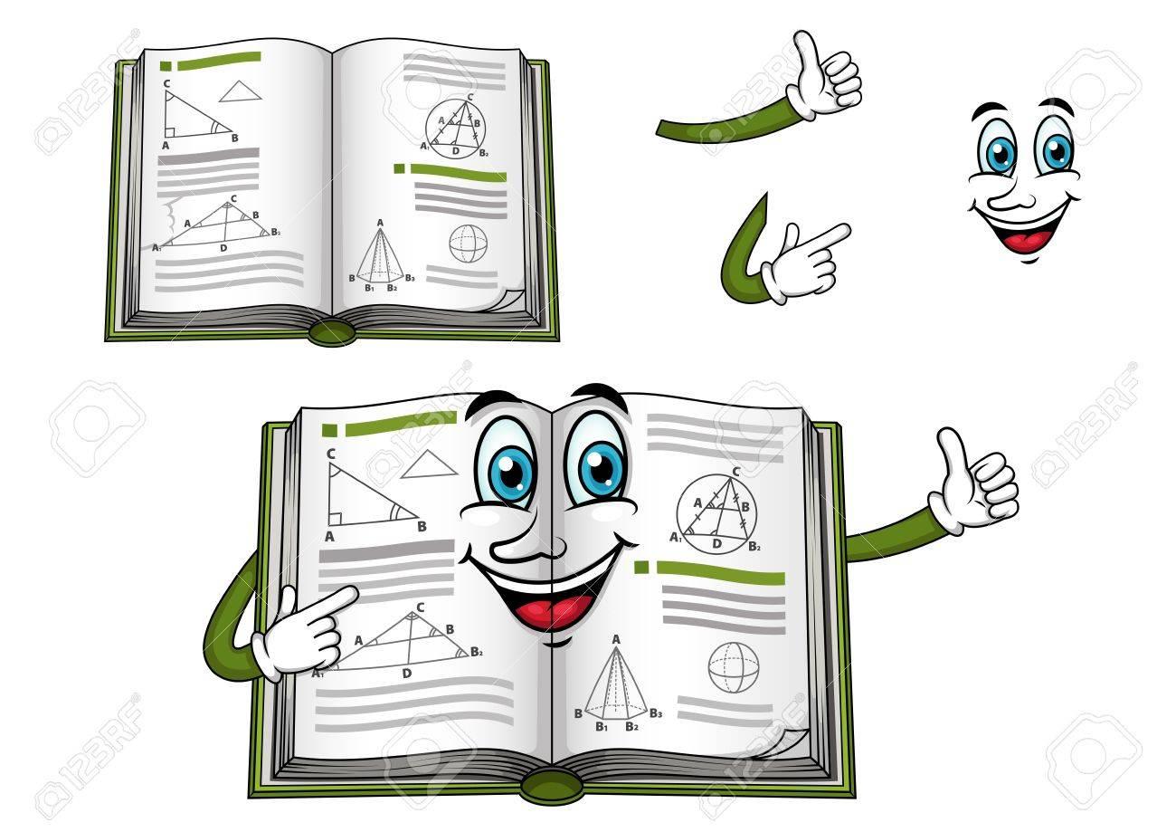 Carácter Feliz Geometría De Libros De Texto De Dibujos Animados Con ...