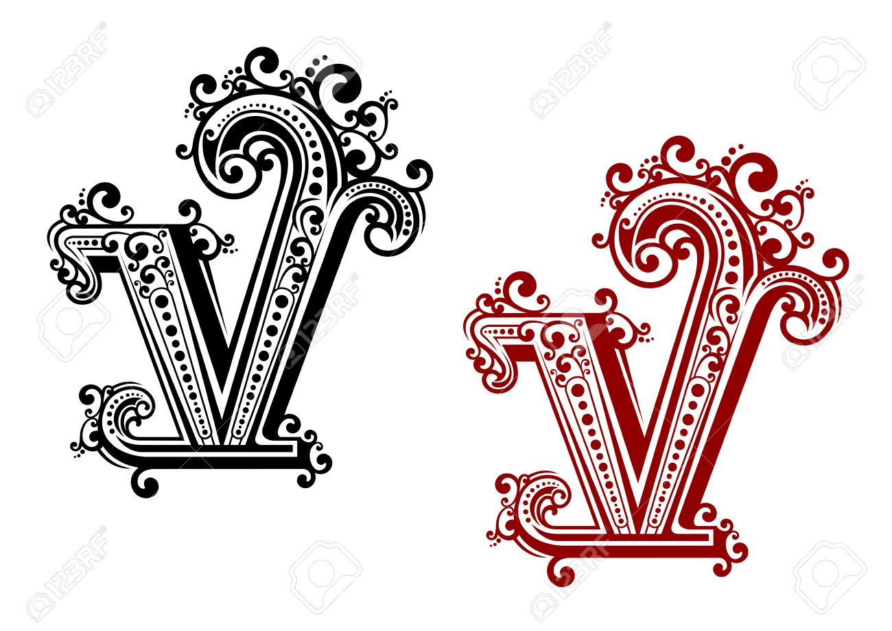 Decorative Capital Letter V With Vintage Calligraphic Elements And Floral Ornamental Curlicues In Red