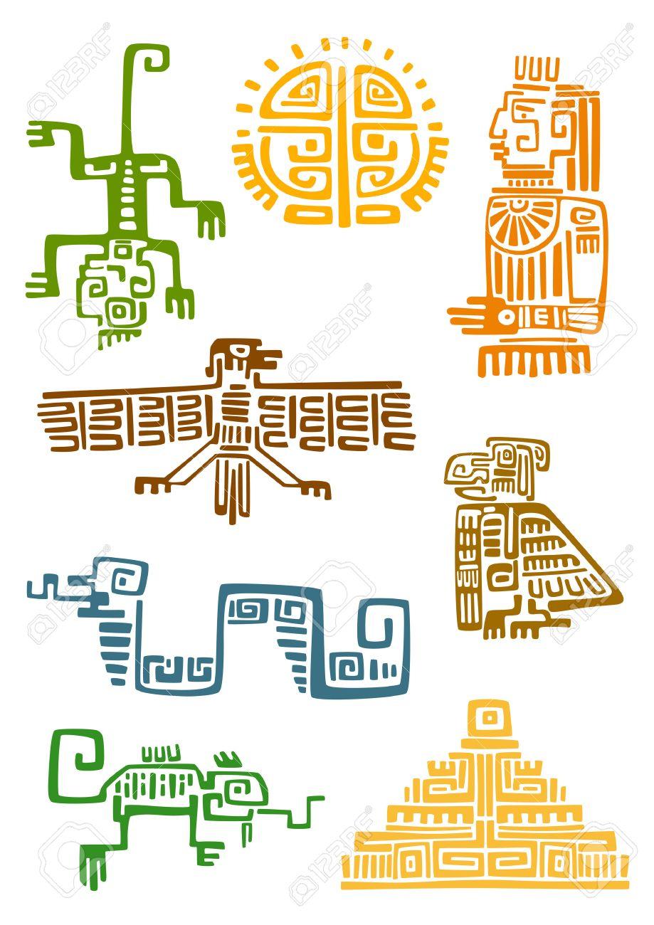 Símbolos Ornamentales Azteca Y Maya Antiguas De Sol Dios ídolo