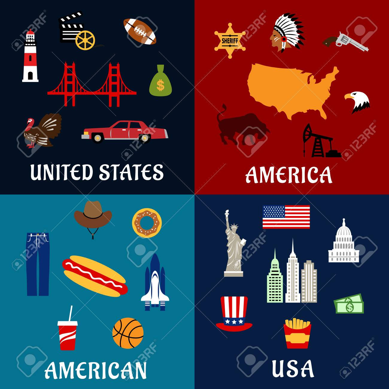 USA Travel Flat Icons With Map Flag Dollars Fast Food And