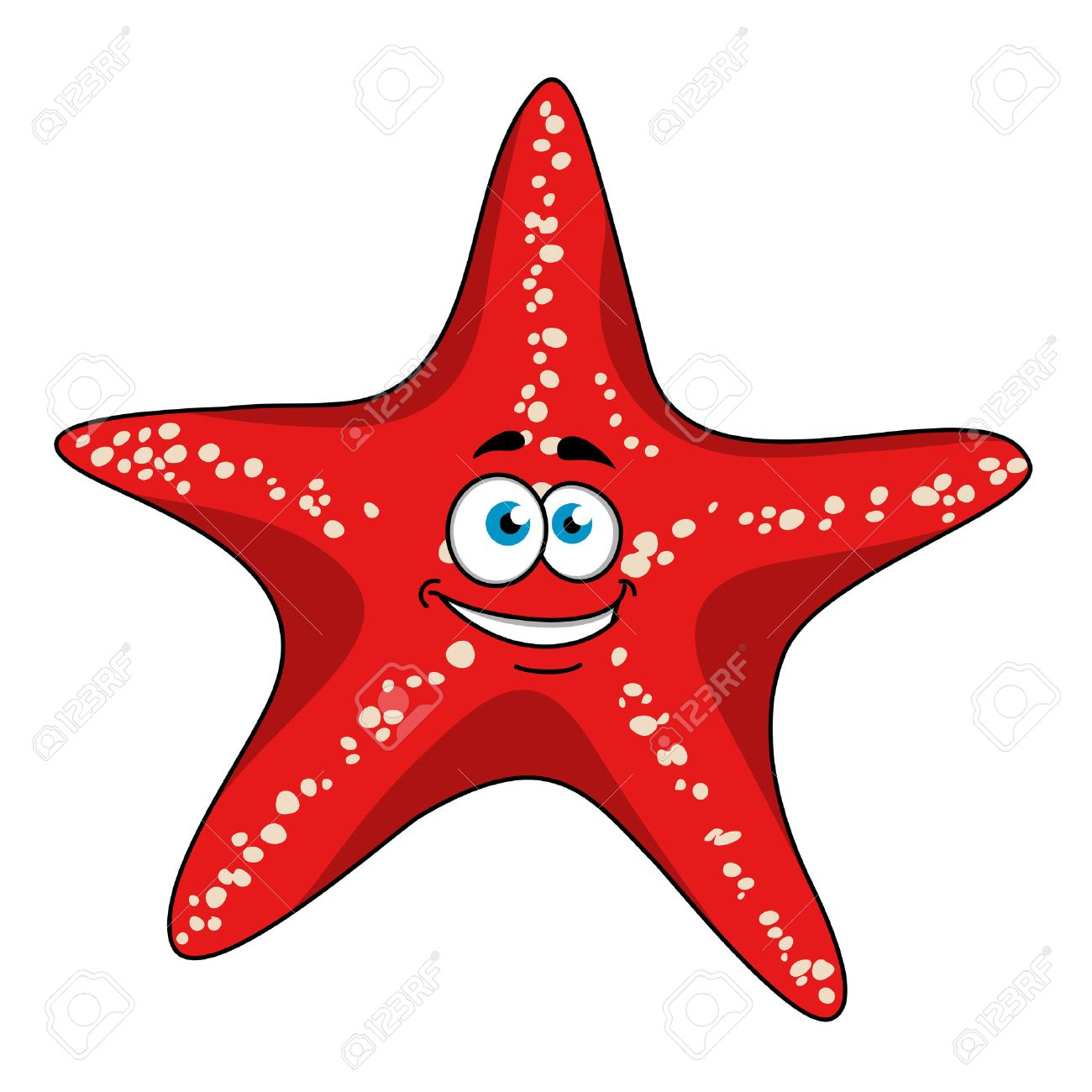 22afdce4134e Happy tropical bright red starfish cartoon character with white spots.  Isolated on white background for