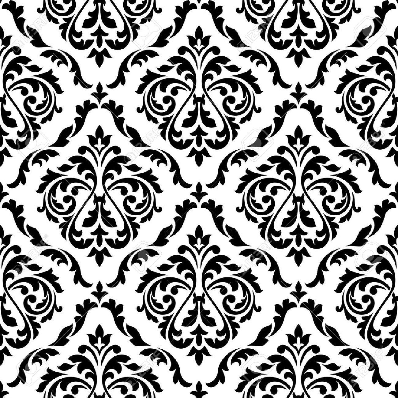 Damasse Florale Seamless Noir Et Blanc Avec Boutons De Fleurs