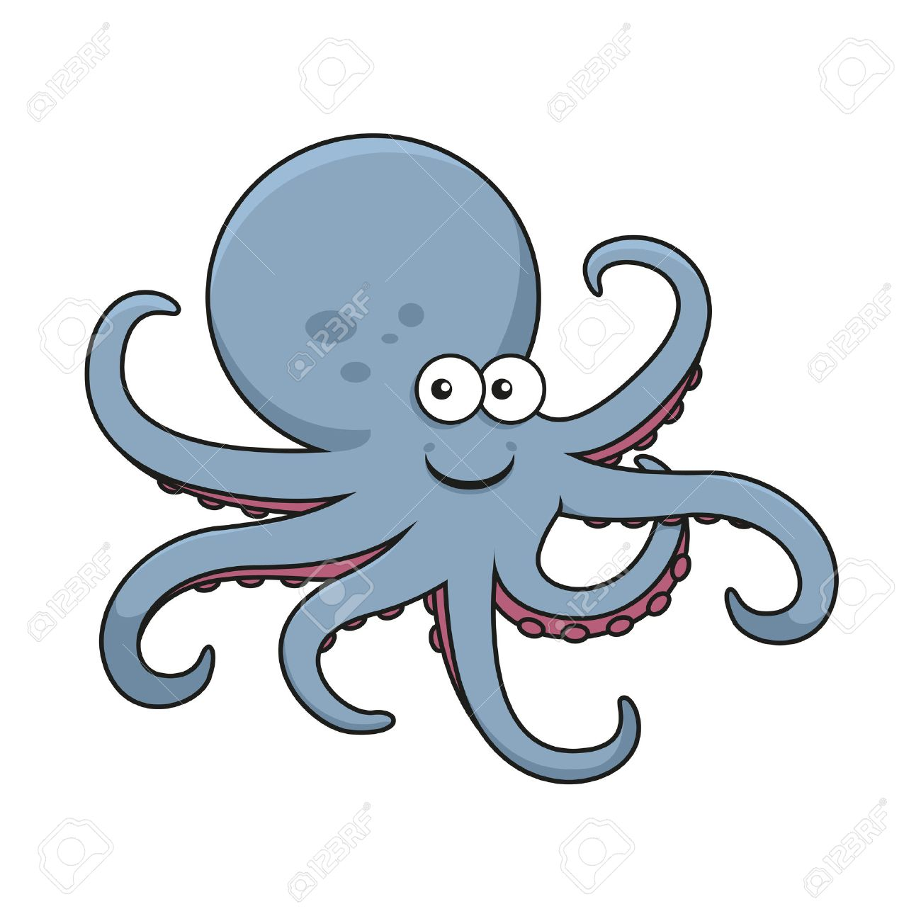 blue octopus cartoon character with big round head and curved rh 123rf com cartoon octopus character images purple octopus cartoon character