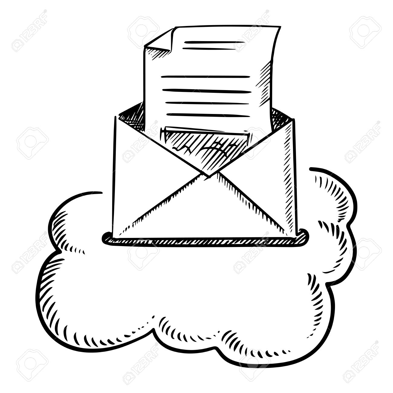 Open Envelope Of E Mail Letter With Mailbox Slot In A Cloud