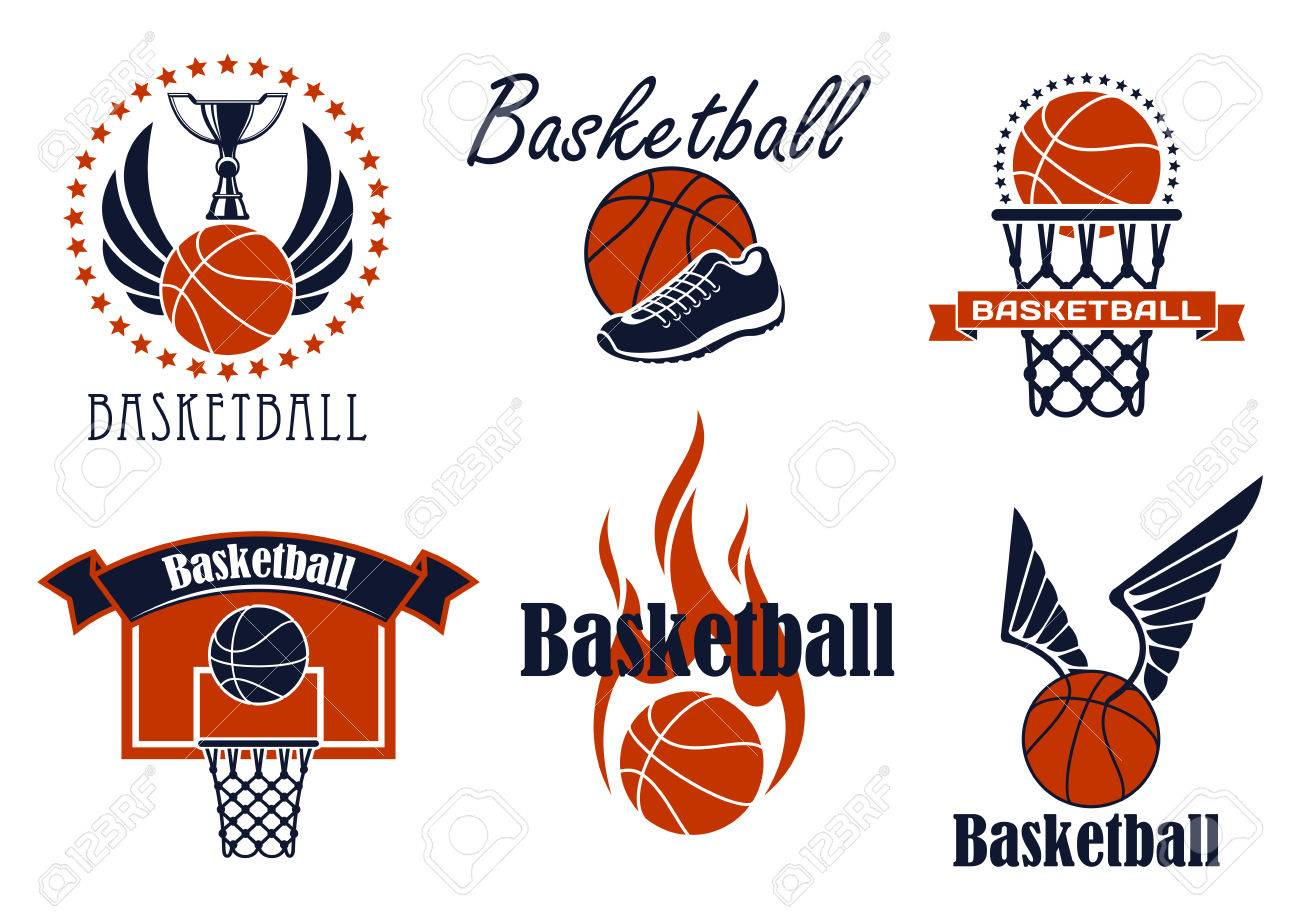 Basketball game sport icons and symbols with winged and flaming basketball game sport icons and symbols with winged and flaming ball shoes ring and biocorpaavc