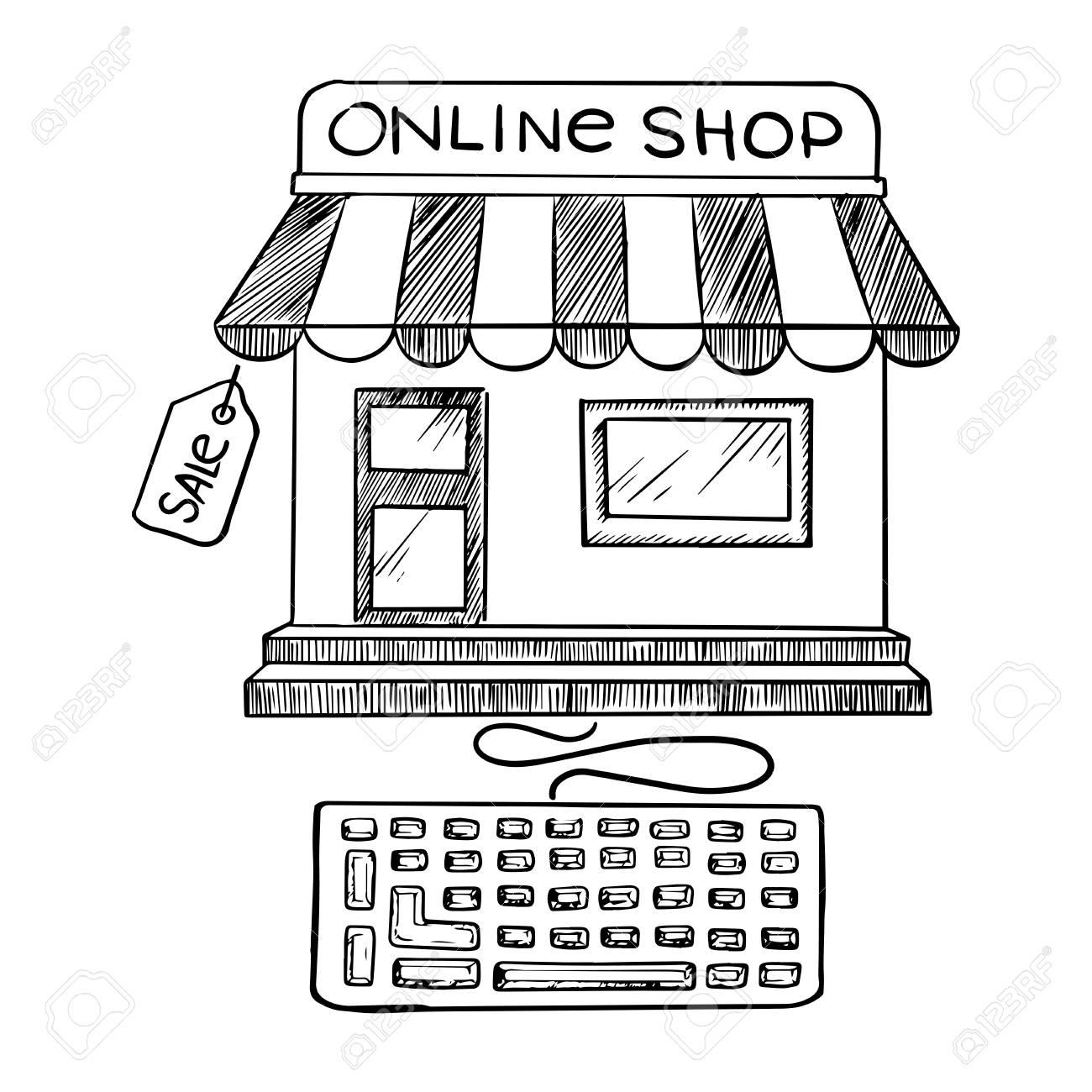 Online shopping and store icon with a black and white sketch