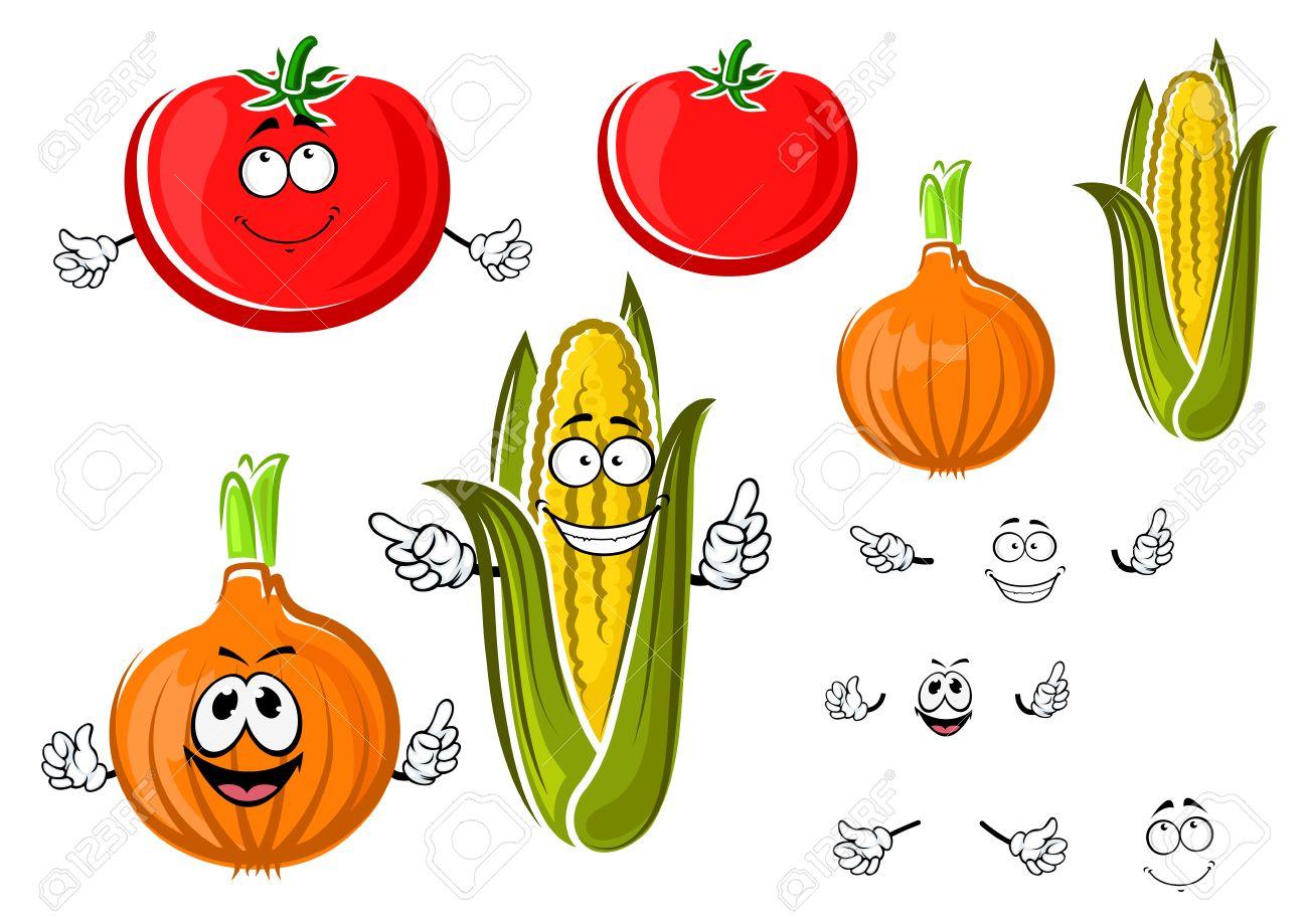 Cipolla Cartone Animato Felice Pomodoro E Mais Sulla Pannocchia Di