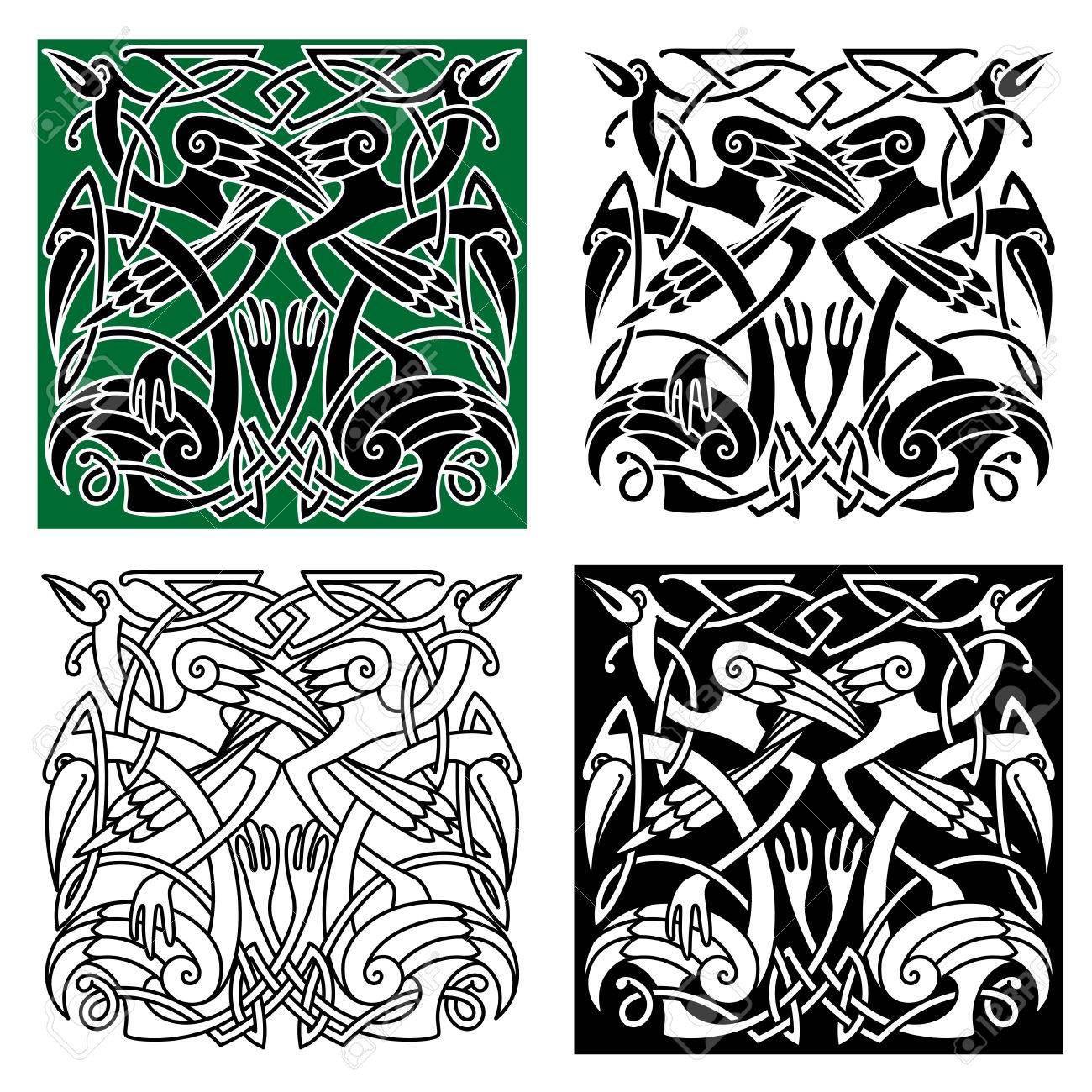 Ancient celtic birds symbols with tribal stylized herons or storks decorated by traditional irish ornament