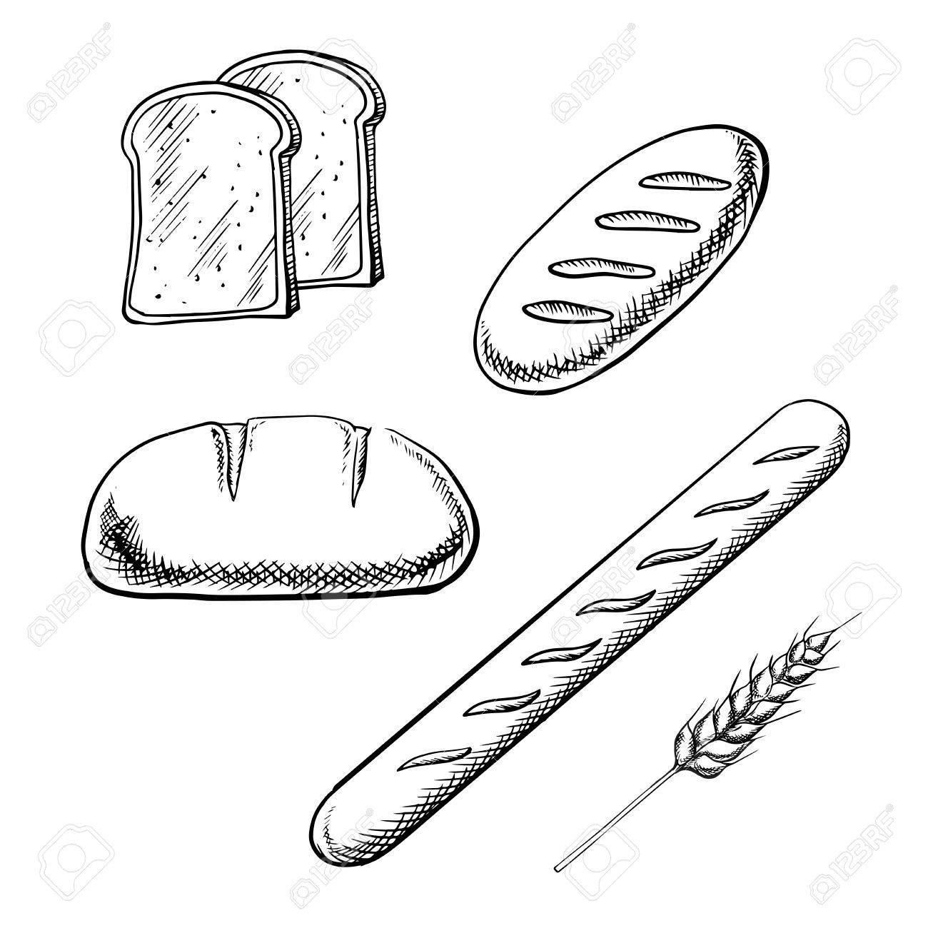 Toast Bread Slices Long Loaves And French Baguette With Wheat Spikelet Isolated On White Background