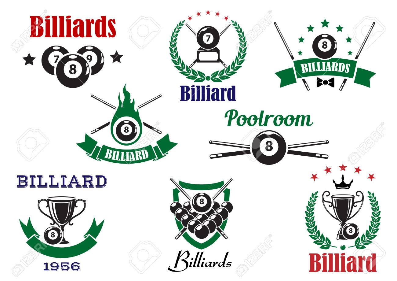 Billiards sports icons with billiard balls, cues and trophy cups, decorated by flame, stars, crown, heraldic shield, laurel wreaths and ribbon banners Banque d'images - 44736518