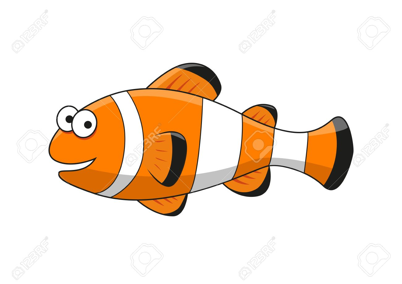 Happy Smiling Bright Tropical Clown Fish Cartoon Character With