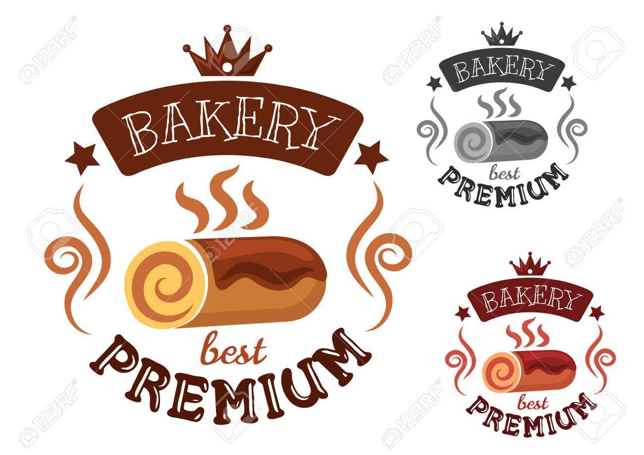 Premium-Bäckerei-Emblem Mit Frisch Gebackenen Swiss Roll Kuchen Und ...