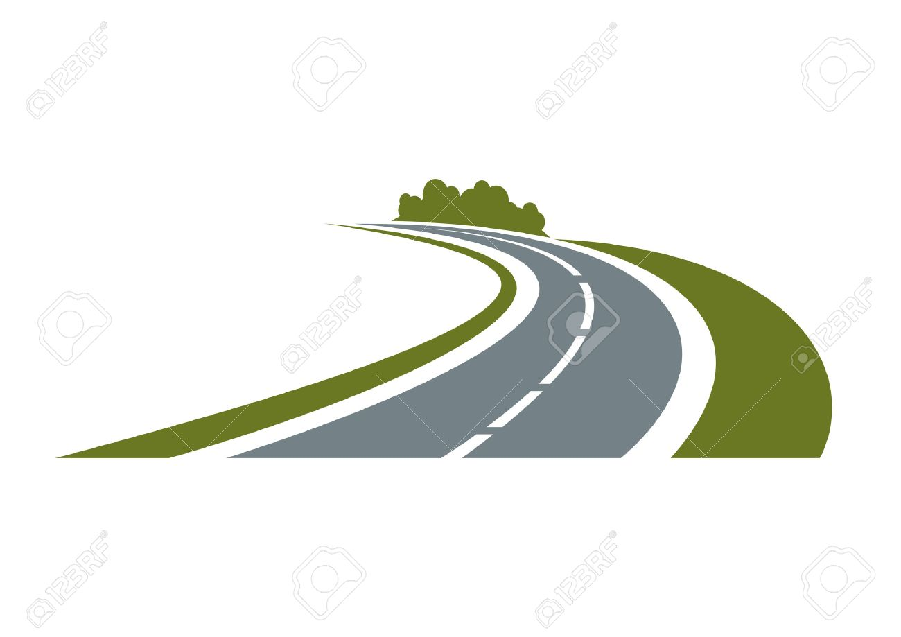 Winding paved road icon with green grassy roadside and curly bushes isolated on white background. For travel or transportation theme - 44736801
