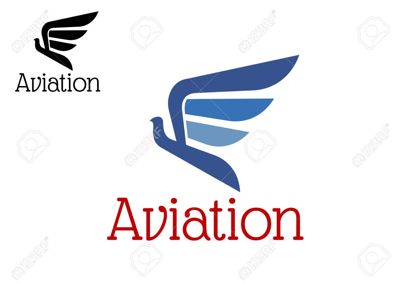 Aviation abstract icon or emblem with blue eagle silhouette aviation abstract icon or emblem with blue eagle silhouette in flight isolated on white background biocorpaavc Gallery