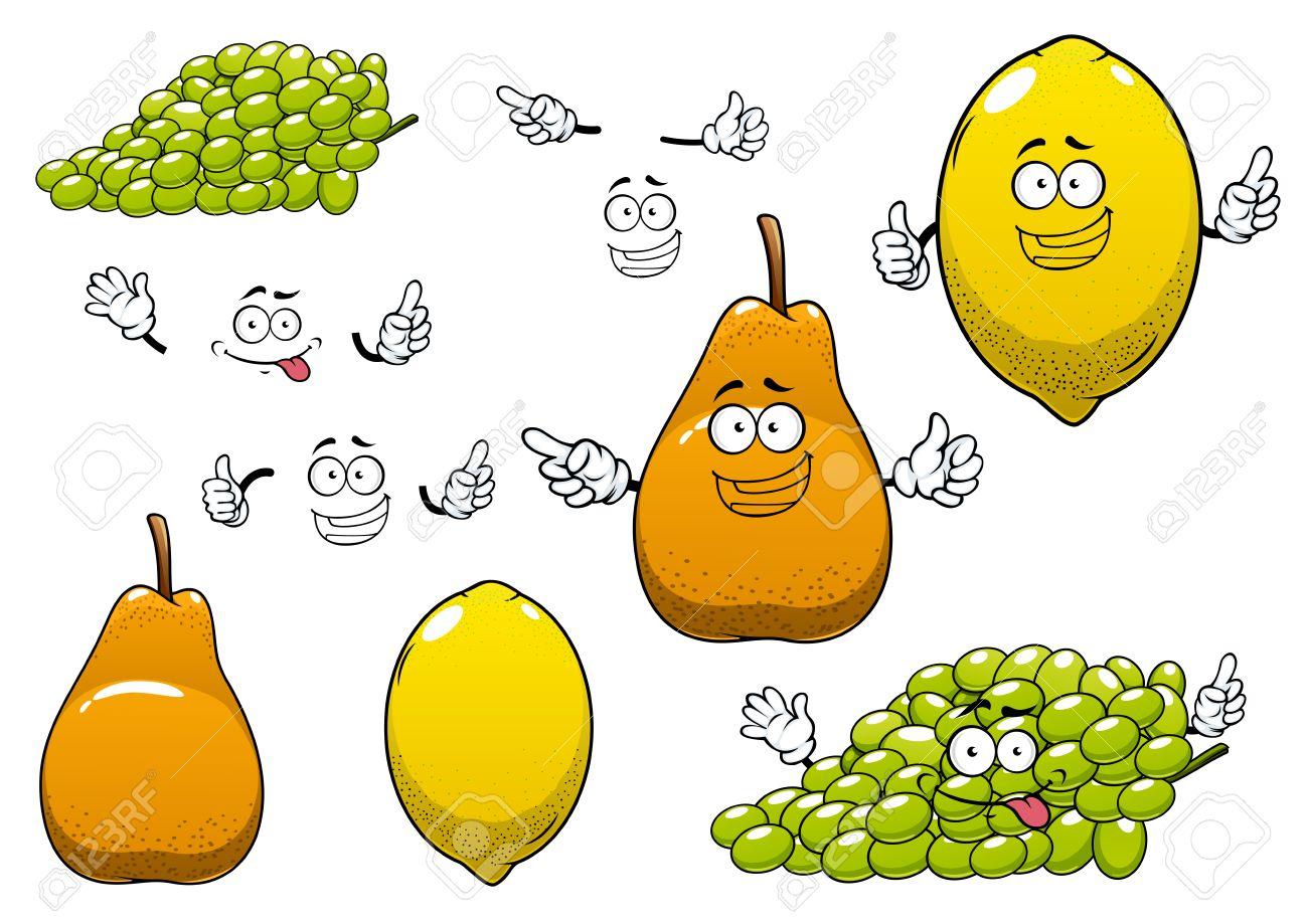 Limon Saludable Fresca Amarillo Uva Verde Y Frutas De Color Naranja