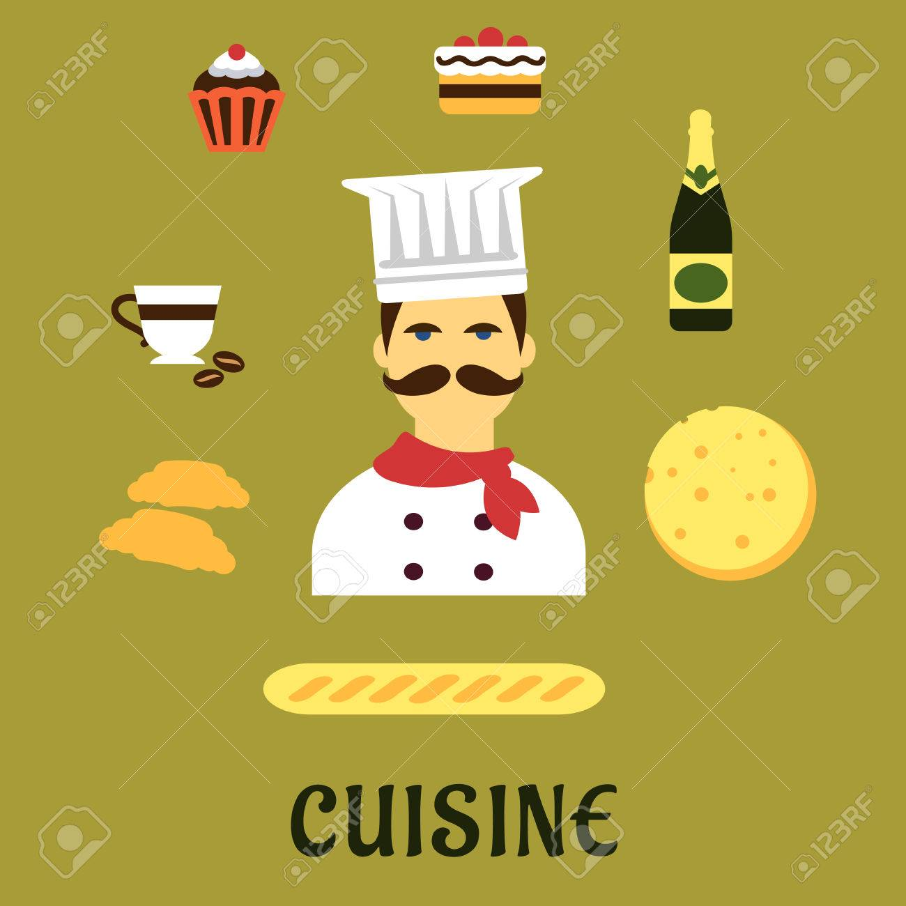 french cuisine flat icons with chef in white toque and red