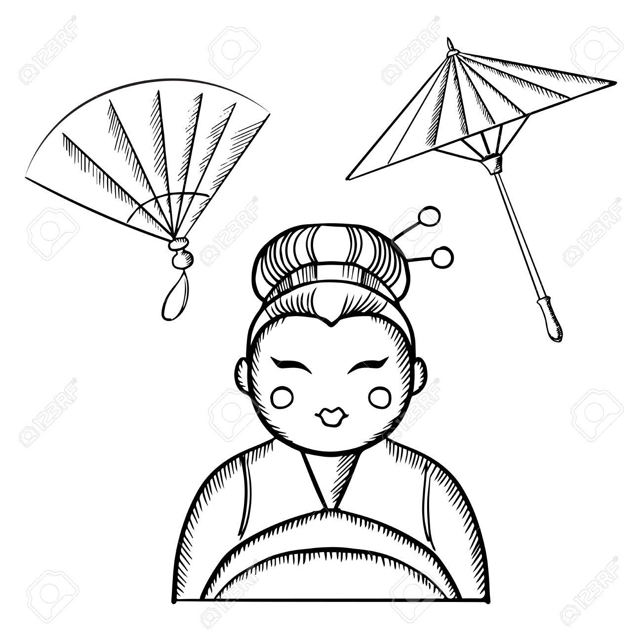 Banque d\u0027images , Femme Geisha en kimono avec le maquillage traditionnel et  une coiffure avec des épingles à cheveux, avec ventilateur japonais vintage  et