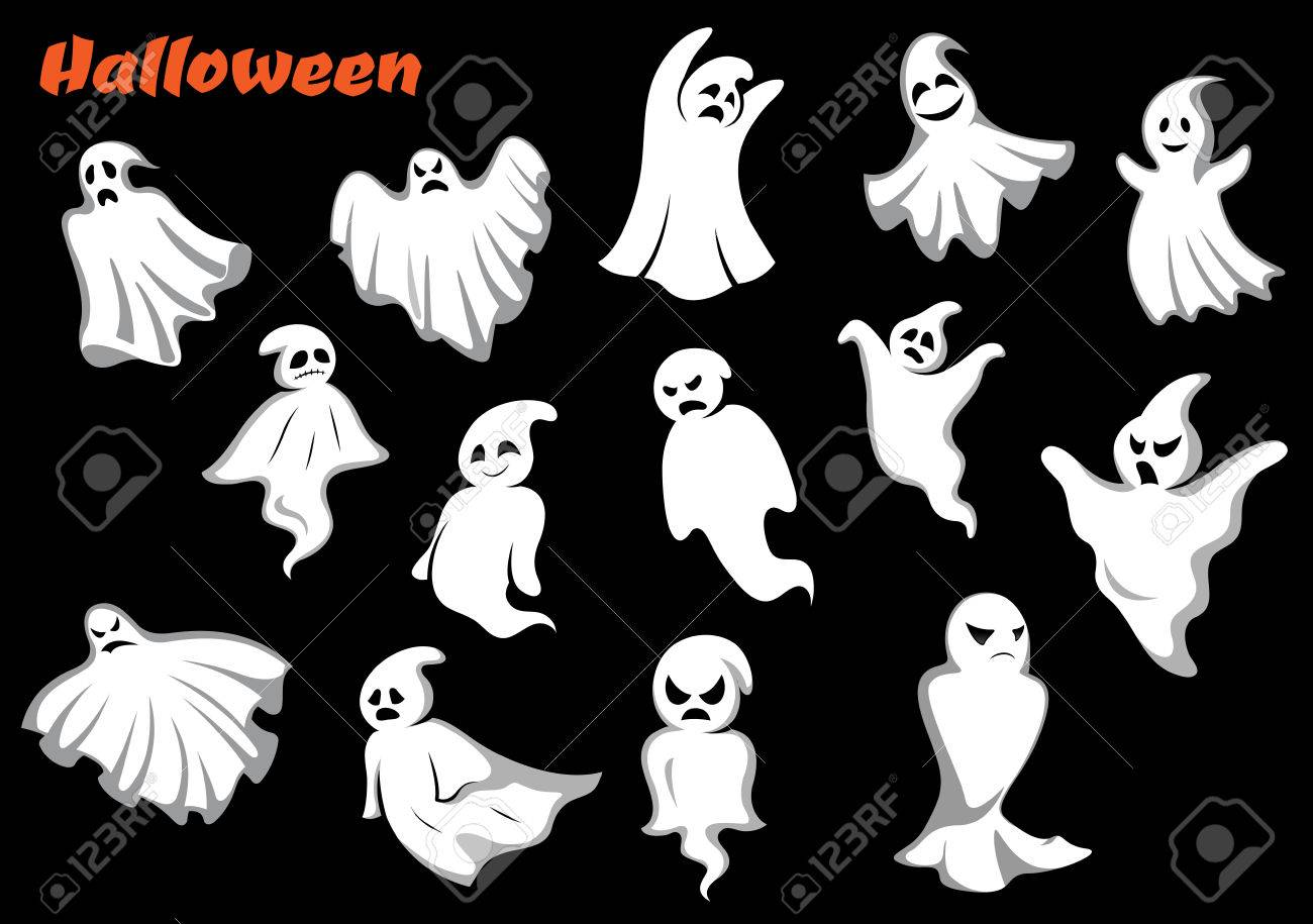 Flying Halloween Monsters And Ghosts Isolated On Dark Background ...