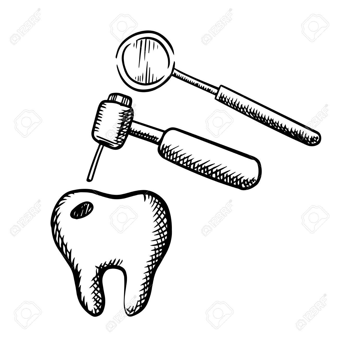 tooth with decay, dental drill and mirror, isolated on white