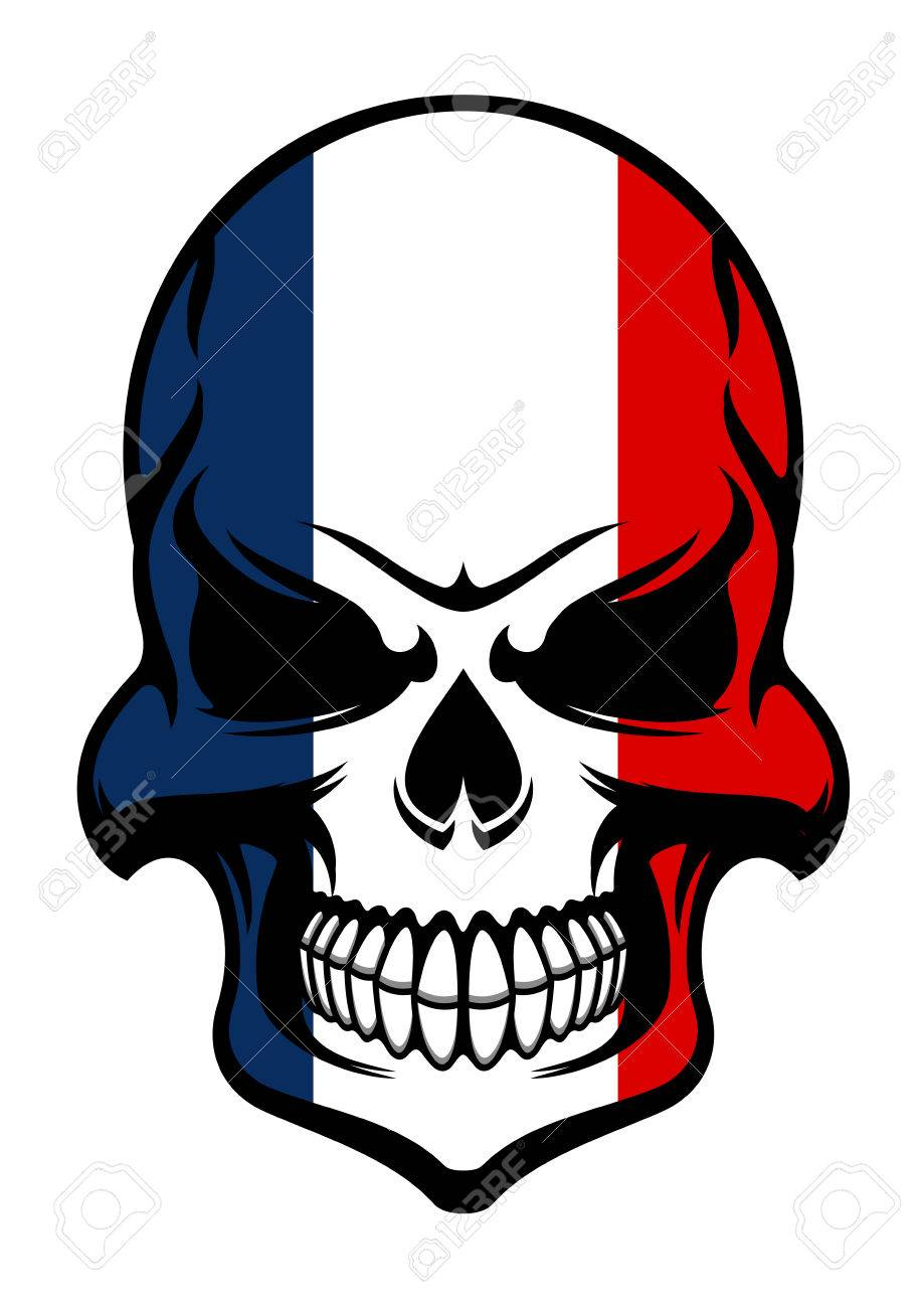Pirate Skull Colored In National Colors Of France Isolated On ...