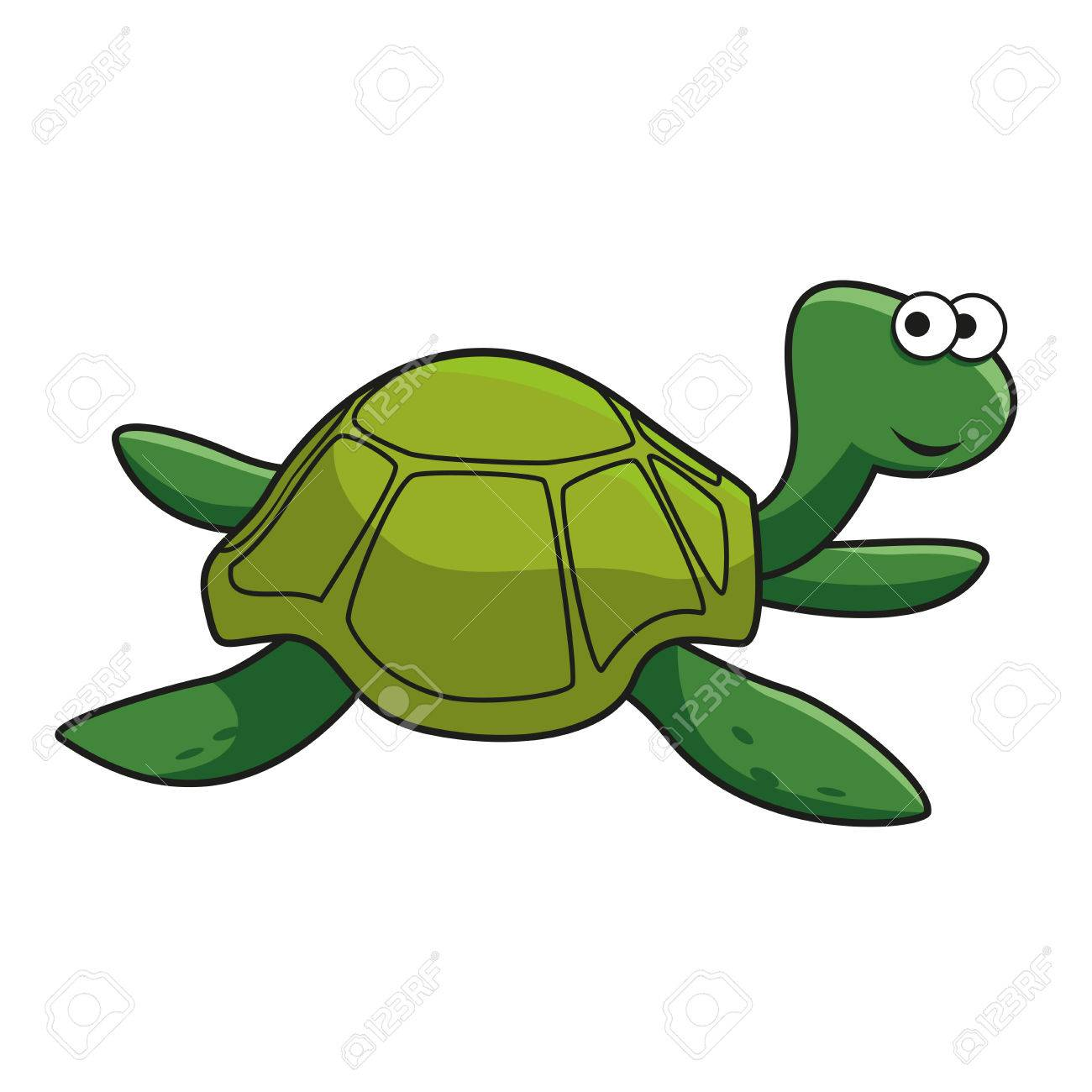 Cartoon Green Turtle Character With Smiling Face And Googly Eyes
