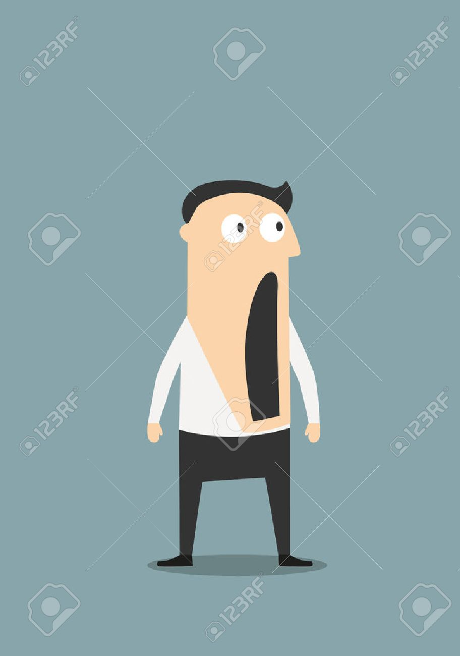 Surprised or shocked businessman with wide open mouth, for emotion expression concept design. Cartoon flat character - 45597449