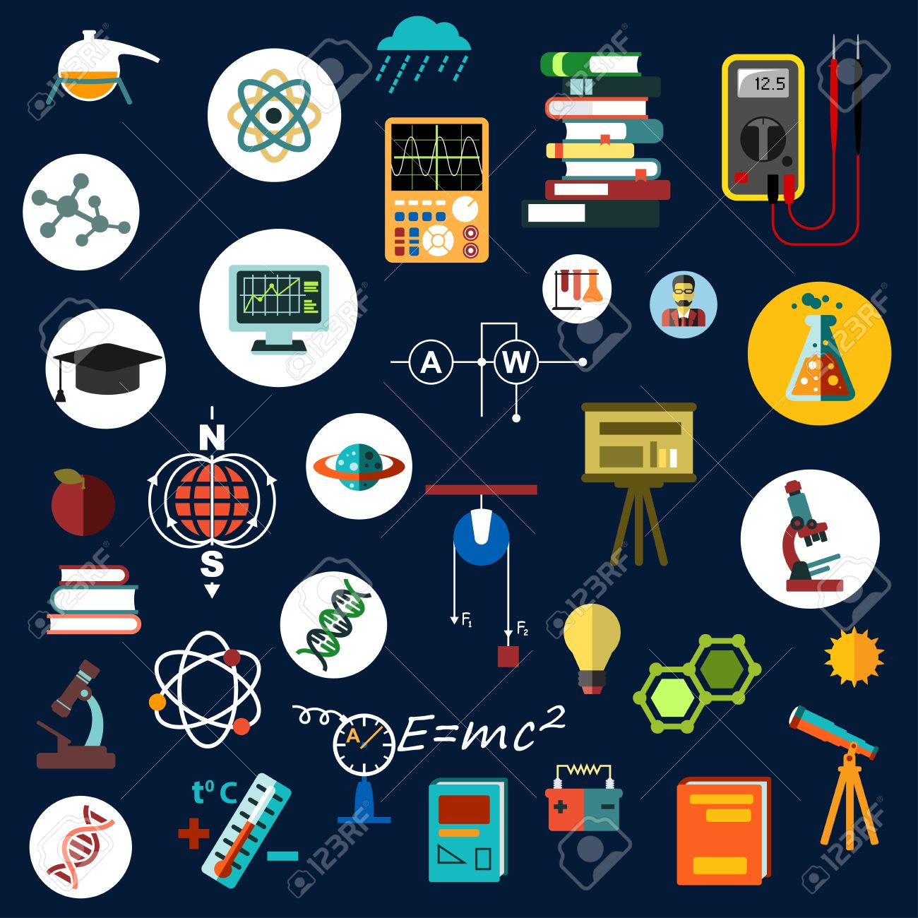 Physics Science And Technology Flat Icons With Laboratory Equipment Books Microscopes Electrical Measuring