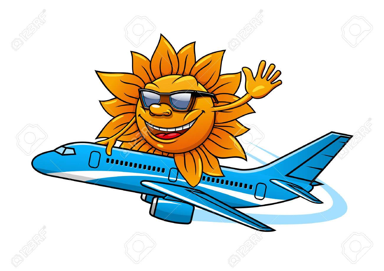 Funny Cartoon Sun Character In Sunglasses Flying On Airplane For Vacation And Air Travel Theme