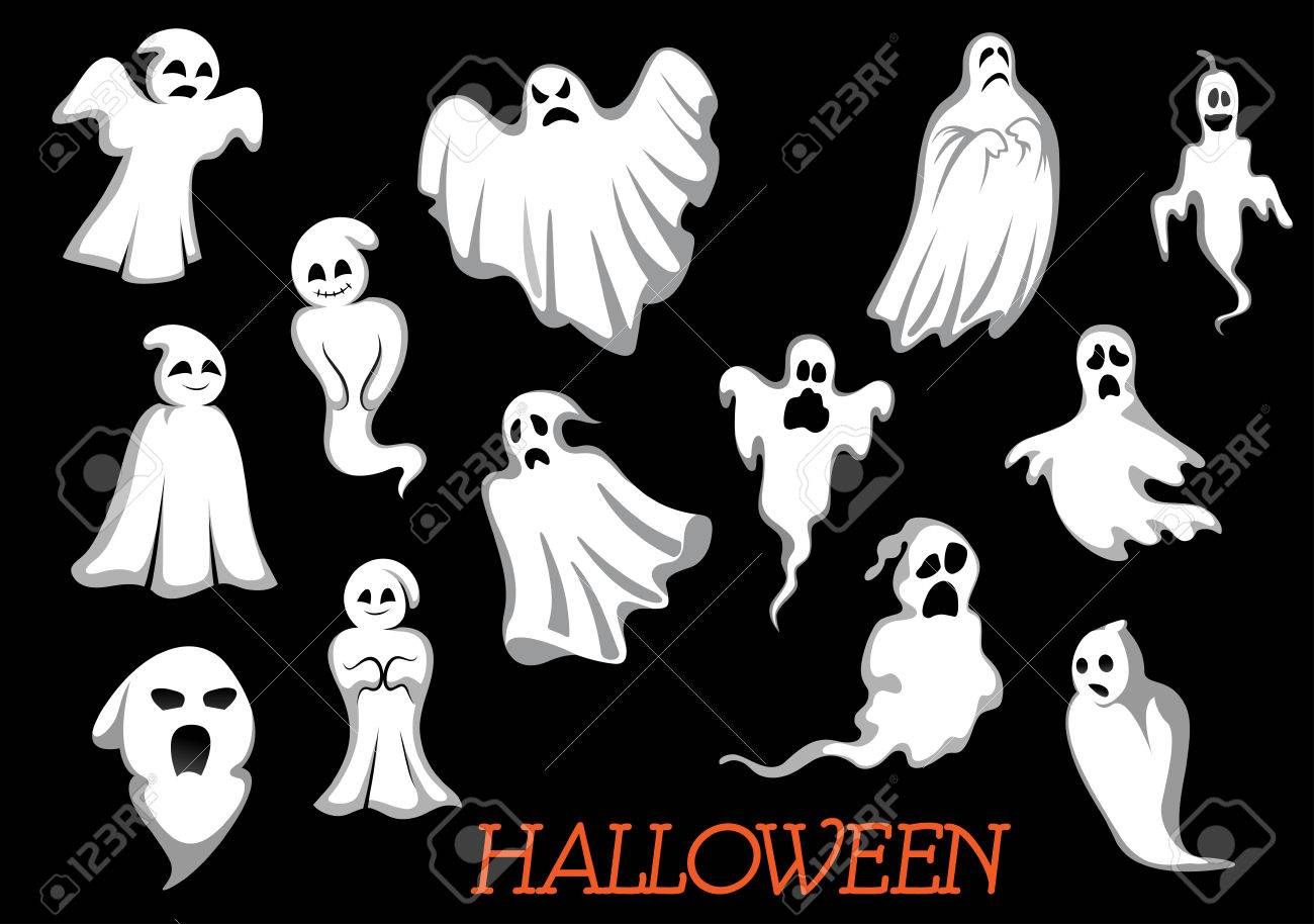 White Flying Halloween Monsters And Ghosts Isolated On Background ...