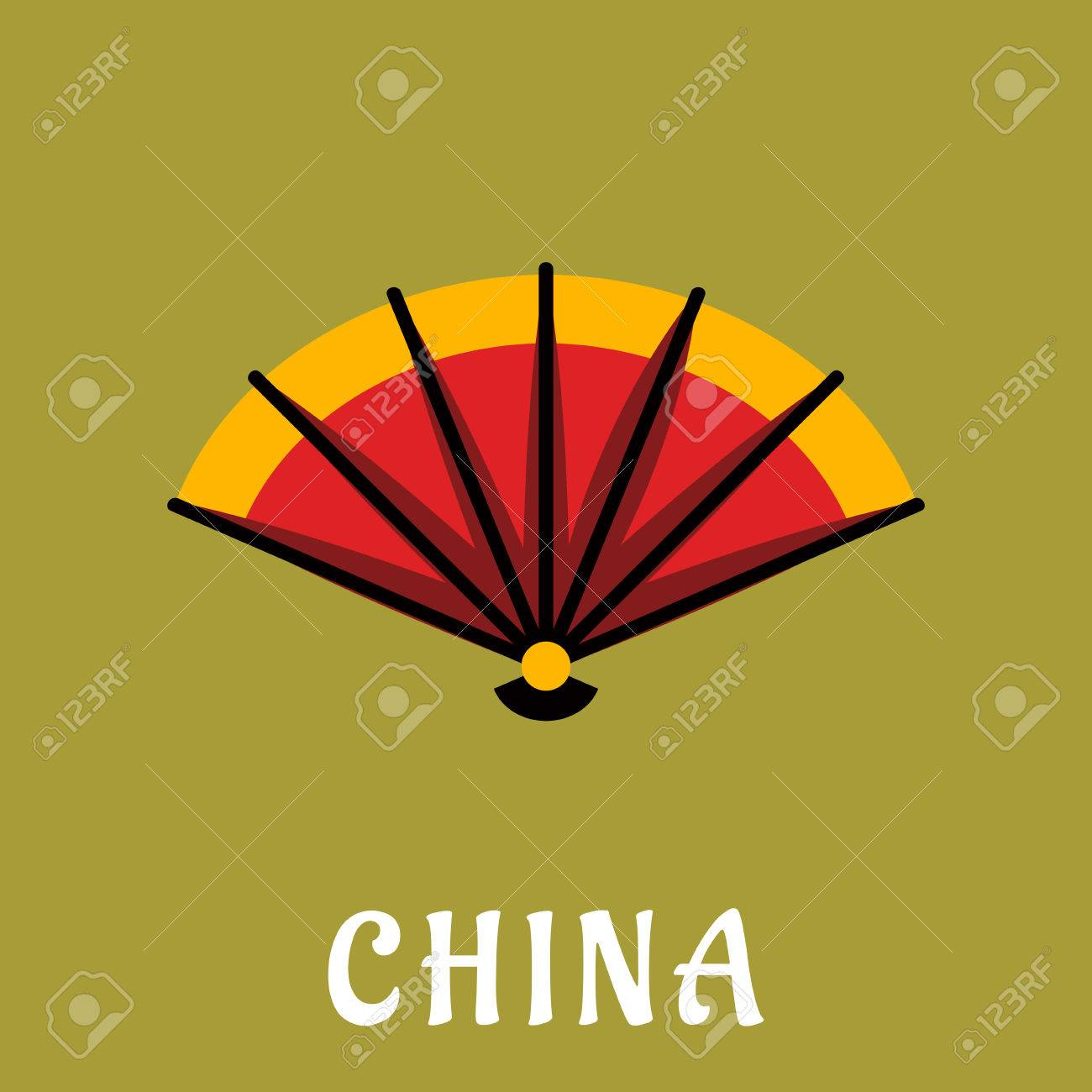 Traditional Chinese Open Folding Fan With Bright Orange And Red ...