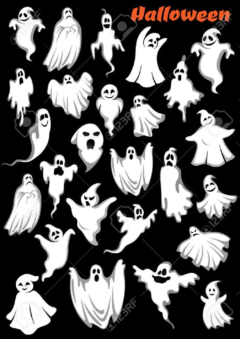 Halloween Thema.White Vliegende Monsters Geesten En Spoken Geisoleerd Op De Achtergrond Voor Halloween Vakantie Thema