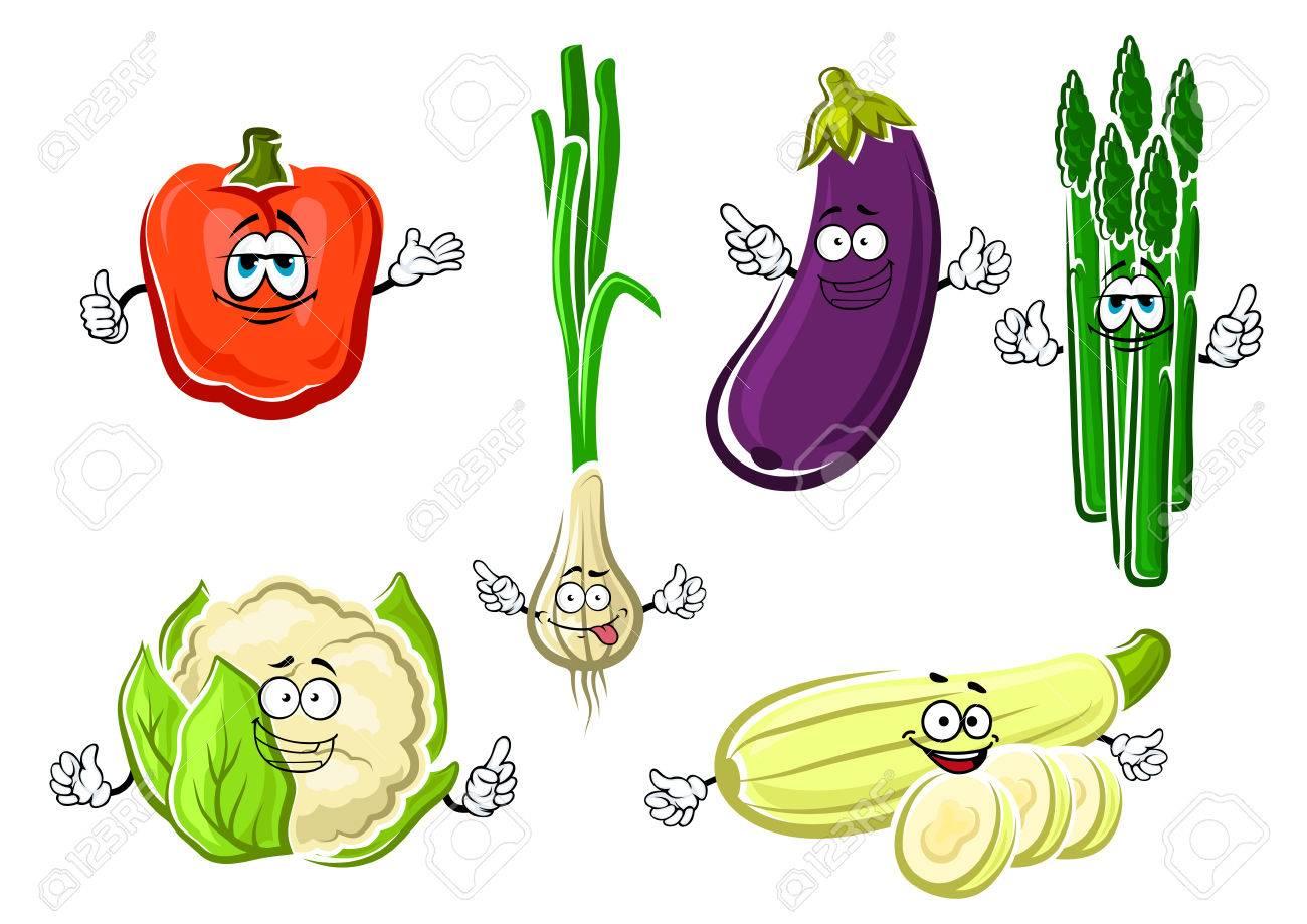 Aubergine Dessin heureux, dessin animé poivron, aubergine, oignon vert, courgettes