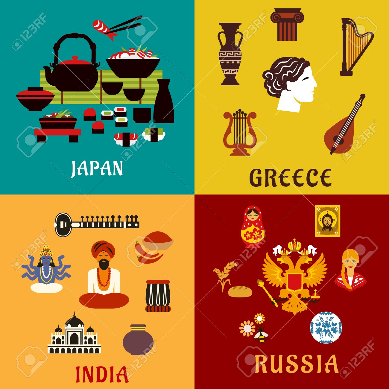 National Culture Religion And Cuisine Of Japan Russia India And