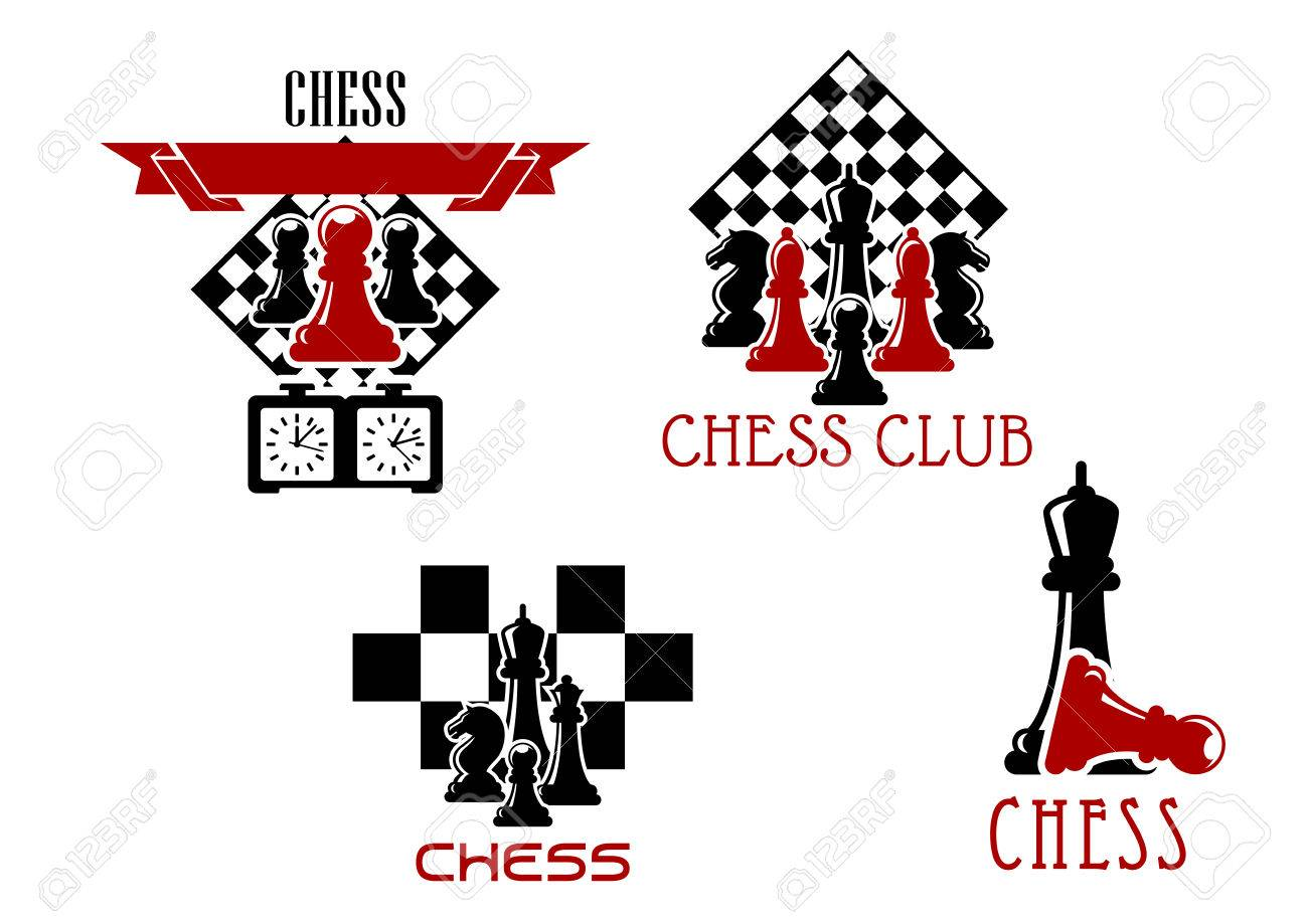 Chess Club And Tournament Symbols With Pawn Rook Knight And King