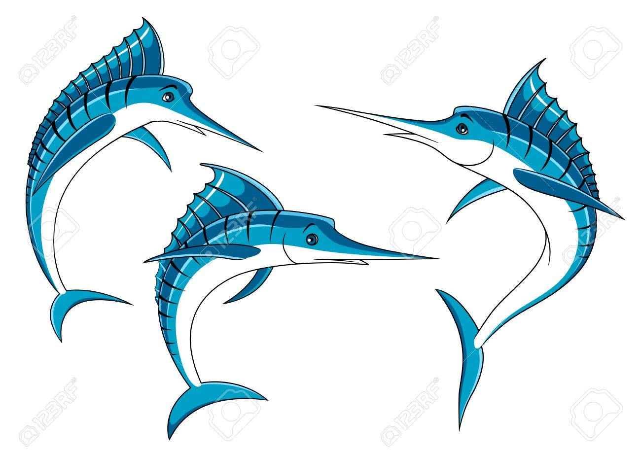 ocean blue marlin fishes with shiny curved bodies and long bills