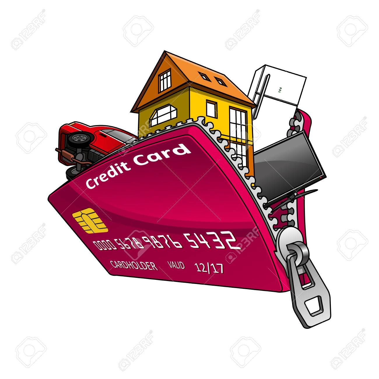 House, Car And Home Appliance Inside Open Red Bank Credit Card ...