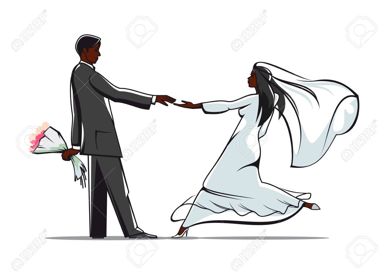 African american bride and groom in elegant wedding outfits joining african american bride and groom in elegant wedding outfits joining hands for marriage or wedding junglespirit Image collections