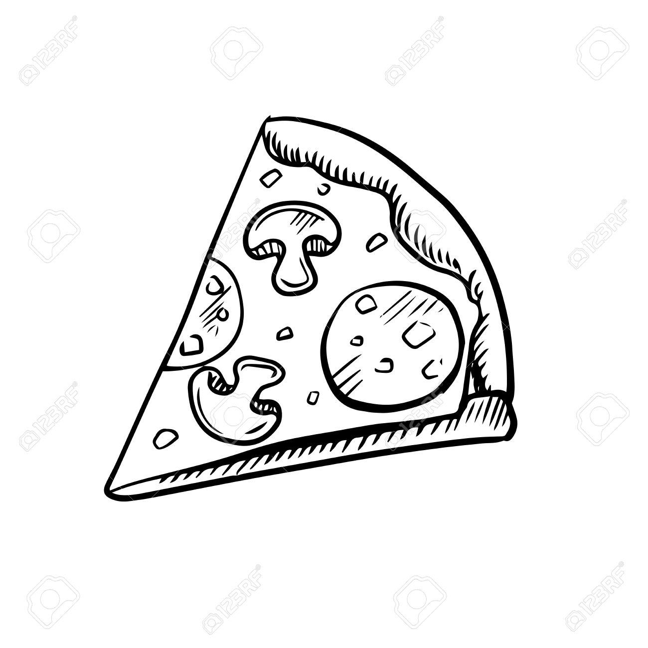 Schwarz Weiß Stück Peperoni Pizza Mit Champignons Erhöhte Ansicht