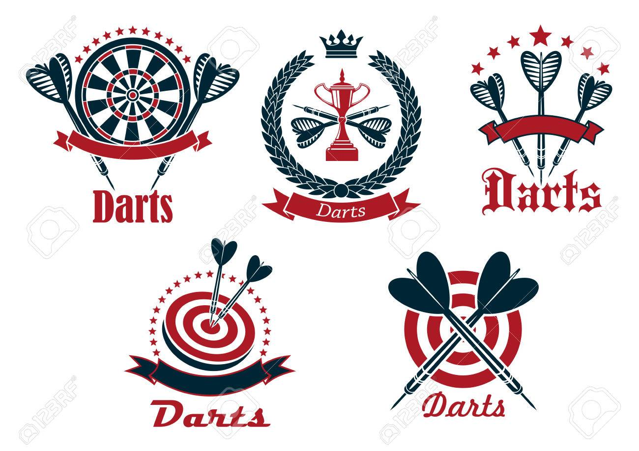 Dart Game Tournament Icons And Symbols With Arrows Dartboard