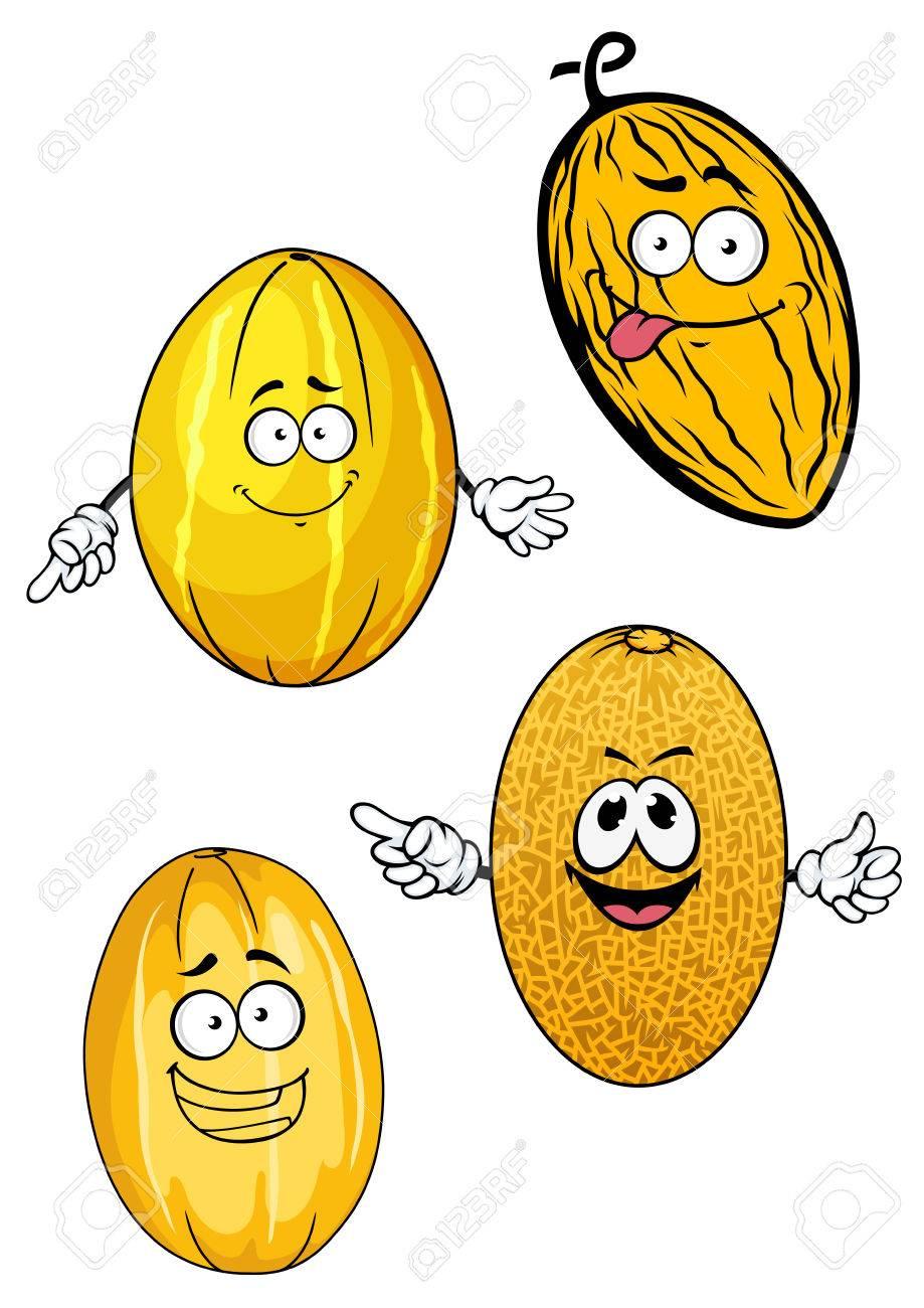 Frutas Maduras De Melón De Dibujos Animados Personajes Con Cortezas ...