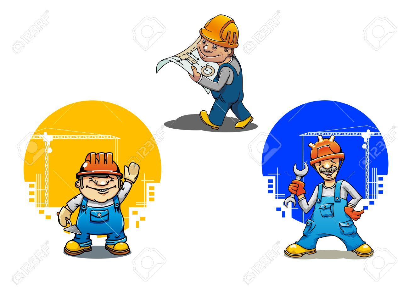 Lustige Karikatur Ingenieur Mit Bauvorhaben Bauarbeiter Mit