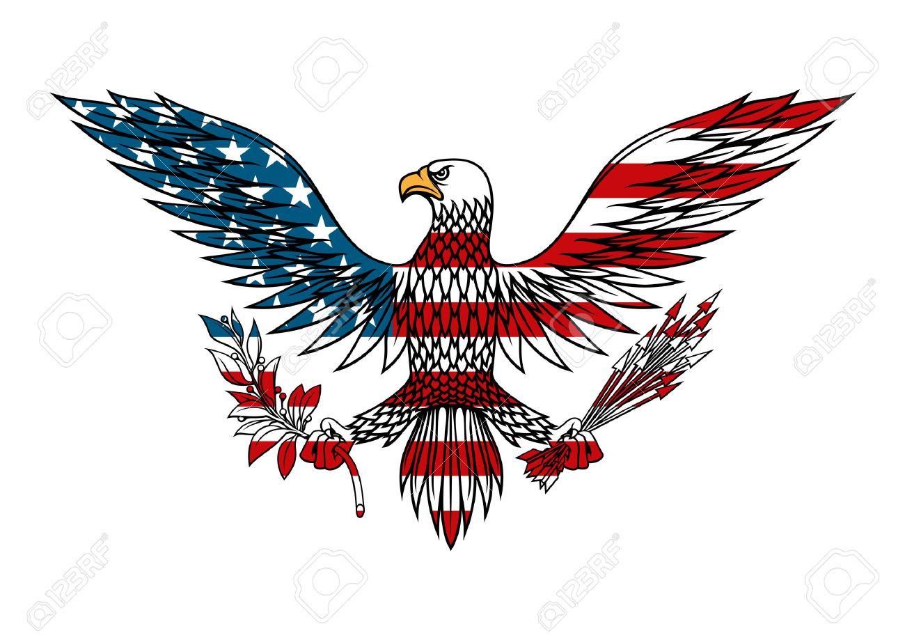 American Eagle Symbol Mit Ausgebreiteten Flgeln Hlt Bndel Pfeile