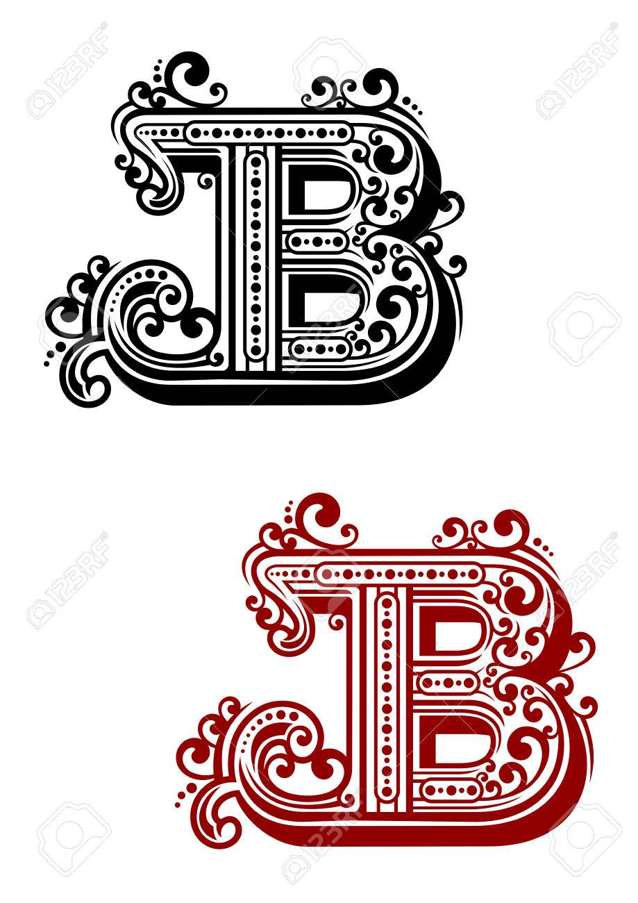 Calligraphic Letter B In Uppercase Font With Elegant Swirls And Dots Ornament For Certificate Or Monogram